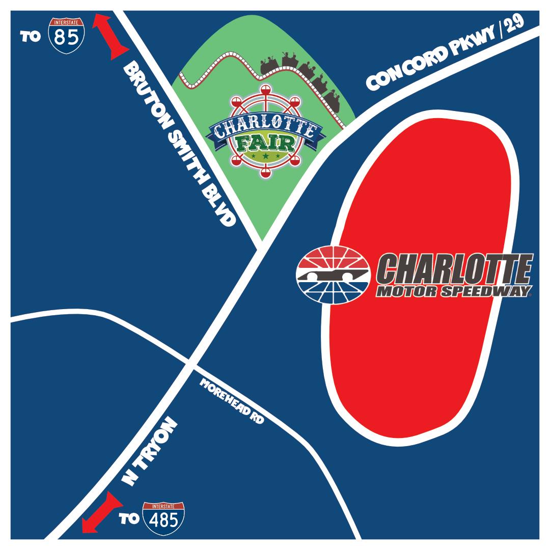 Charlotte Fair next to Charlotte Motor Speedway